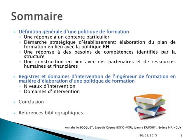 Vcasmo Analyse Et Conception Des Politiques De Formation Note De